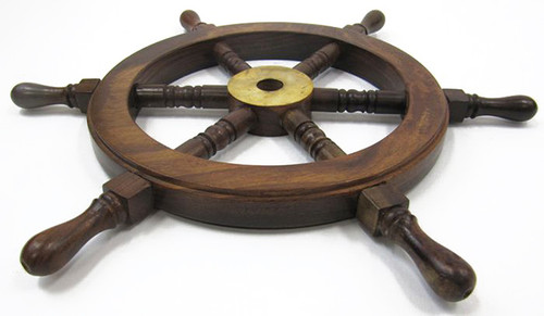 Teak Ship's Steering Wheel Wooden Hub Brass