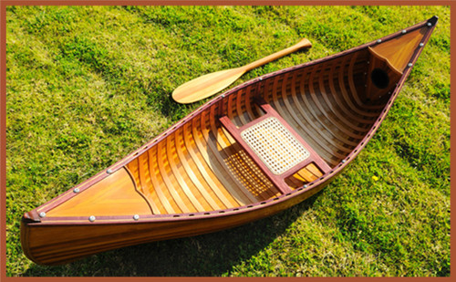 Display Cedar Wood Strip Canoe Wooden Model Boat