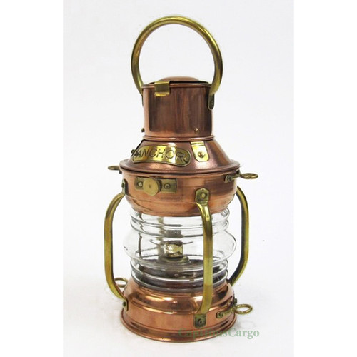 "Small Ship's Anchor Oil Lamp Copper Lantern 9"" Fresnel Lens"