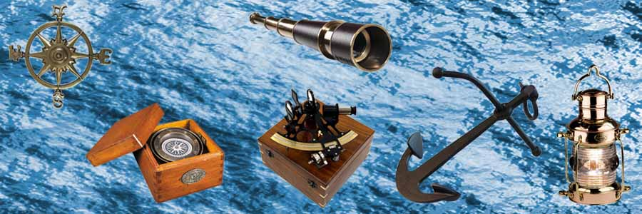 Nautical Home Decor, Oil Lamps, Spyglasses, Compasses, Sextants & Anchors