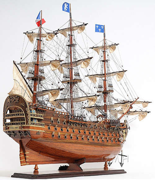 "Royal Louis 1779 Wooden Model Tall Ship 37"" Sailboat Built ..."