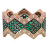 Lucia pave with emeralds and satin bands