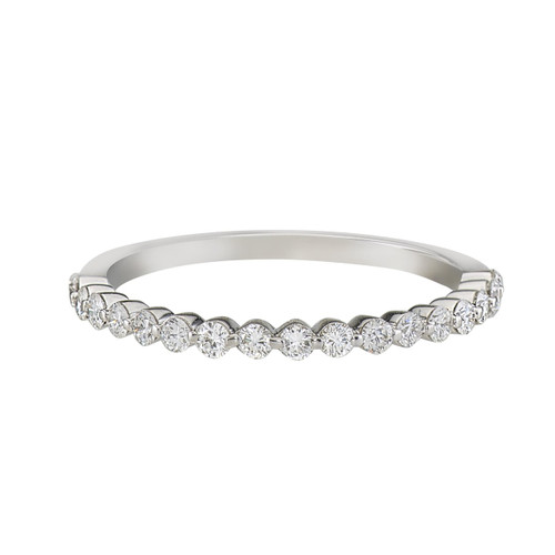 Single prong half eternity band with round brilliant diamonds