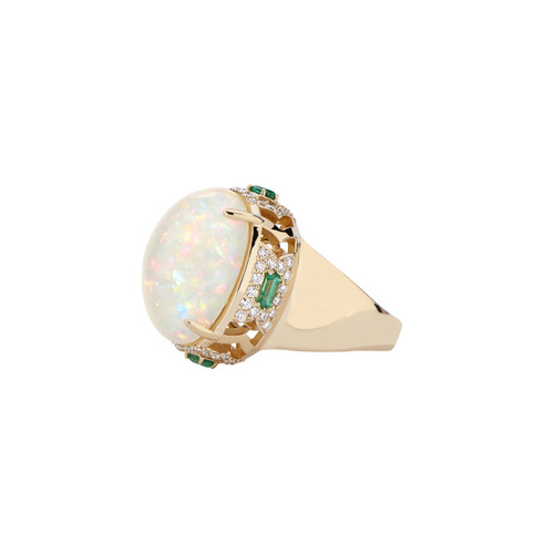 Gia Deco Ring with Ethiopian opal, diamonds and emeralds