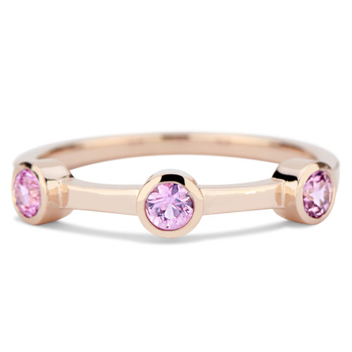 Bezel bands with round brilliant pink sapphire