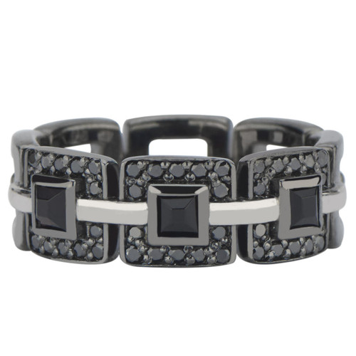 Marcello Pave Band in Sterling Silver with Black Rhodium Finish