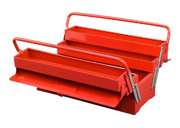 Five Tray Metal Toolbox (Red and Black)