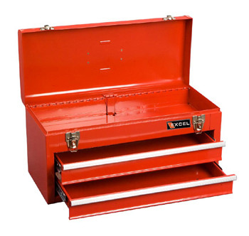 Two Drawer Portable Metal Toolbox (Red)