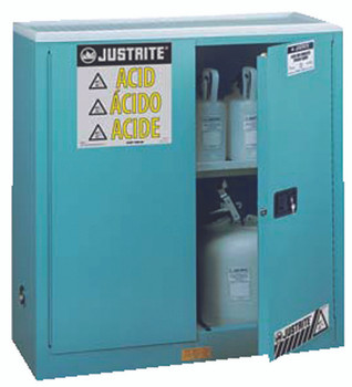 Justrite Blue Steel Safety Cabinets for Corrosives (30 Gallon): 893002