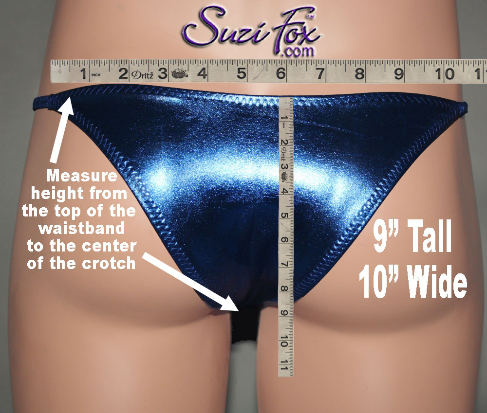 SAMPLE CUSTOM REAR SIZING: Measure the height from the top of the waistband to the center of the crotch. This example is 9 inches tall, 10 inches wide