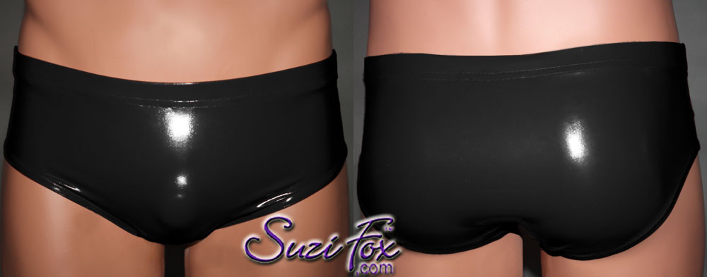 Men's Smooth Front, Brief Bikini, custom made by Suzi Fox shown in Black stretch Vinyl/PVC coated spandex. Available in gloss black, white, red, navy blue, royal blue, turquoise, neon pink, light pink, fuchsia, purple, matte black (no shine), matte white (no shine). 1 inch elastic at the waist. Made in the U.S.A.