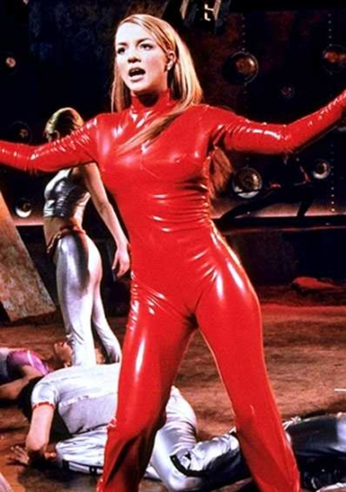 "Brittney Spears in her ""Oops, I did it again"" catsuit"