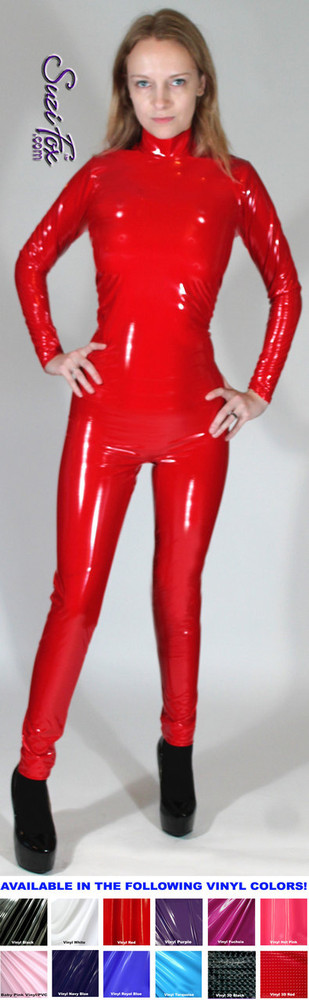 "Womens Custom Smooth Front (Back Zipper) Catsuit by Suzi Fox shown in Gloss Red Vinyl/PVC coated Nylon Spandex.  • Choose any fabric on this site, including vinyl/PVC, metallic foil, metallic mystique, wetlook lycra Spandex, Milliskin Tricot Spandex.  • Optional Custom Sizing. • Plus size available. • Optional ""Selene"" from Underworld TS zipper.  • Optional wrist zippers. • Optional ankle zippers. • Made in the U.S.A."