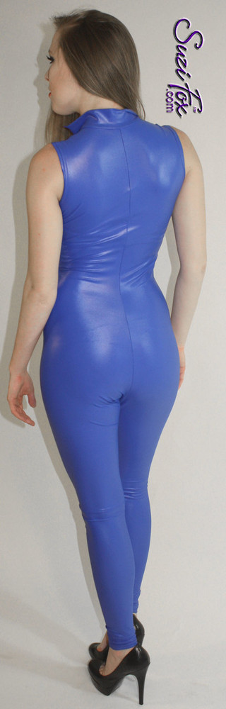 "Custom Sleeveless Catsuit by Suzi Fox shown in Royal Blue Wet Look Lycra Spandex.  You can order this Catsuit in almost any fabric on this site.  • Available in black, red, white, turquoise, navy blue, hot pink, lime green, green, yellow, royal blue, steel gray, neon orange. This is a 4-way stretch fabric with a medium shine. • Your choice of front or back zipper (front zipper shown). • Optional 1 or 2-slider crotch zipper, and ""Selene"" from Underworld TS Brass zipper, or aluminum circular slider zipper like Catwoman comic characters. • Optional ankle zippers • Optional rear patch pockets • Made in the U.S.A."