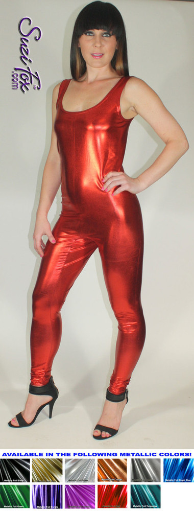 Custom Tank Style Catsuit by Suzi Fox shown in Red Metallic Foil coated spandex.  You can order this Catsuit in almost any fabric on this site.  • Available in gold, silver, copper, royal blue, purple, turquoise, red, green, fuchsia, gunmetal, black faux leather/rubber look. This is a stretch metallic foil, 4-way stretch fabric with a brilliant shine. • Optional ankle zippers. • Made in the U.S.A.