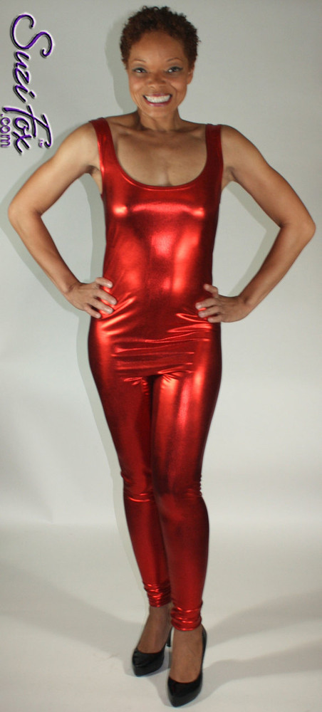 Custom Tank Style Catsuit by Suzi Fox shown in Red Metallic Foil coated spandex.  You can order this Catsuit in almost any fabric on this site.  • Available in gold, silver, copper, royal blue, purple, turquoise, red, green, fuchsia, gunmetal, black faux leather/rubber look. This is a stretch metallic foil, 4-way stretch fabric with a brilliant shine. • Optional ankle zippers • Made in the U.S.A.