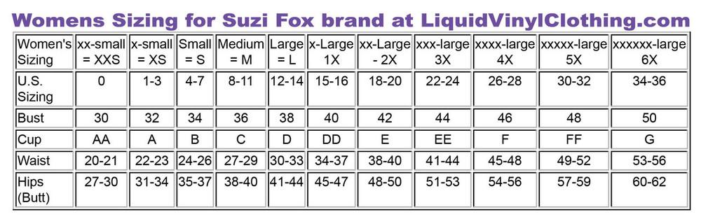Standard sizing chart