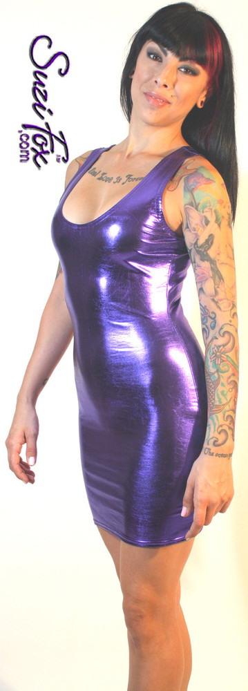 Tank Mini Dress in Purple Metallic Foil coated Spandex by Suzi Fox. Choose any fabric on this site! Available in black metallic faux leather/rubber, gold, silver, copper, royal blue, purple, turquoise, red, green, fuchsia, gun metal metallic foil coated nylon spandex. • Optional 2-slider zipper going the length of the dress, front or back, unzip from the top of the bottom! Made in the U.S.A.