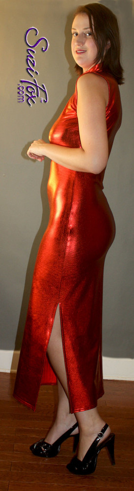 Turtleneck, Maxi Dress in Red Metallic Foil coated Spandex, custom made by Suzi Fox.. Zipper in the back. Choose any fabric on this site! Available in gold, silver, copper, gunmetal, turquoise, Royal blue, red, green, purple, fuchsia, black faux leather/rubber. • Optional bust cutout. • Optional long sleeves. • Optional wrist zippers. Made in the U.S.A.