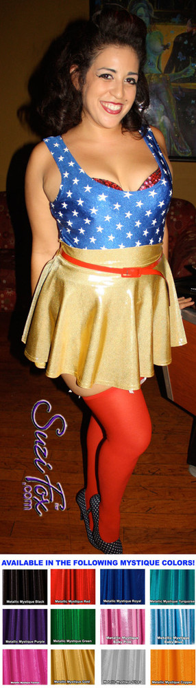 Circle/Skater Skirt shown in Gold Metallic Mystique, custom made by Suzi Fox. Custom made to your measurements! Available in black, red, turquoise, green, purple, royal blue, hot pink/fuchsia, silver, copper, gold Metallic Mystique spandex, and any other fabric on this site. Made in the U.S.A.