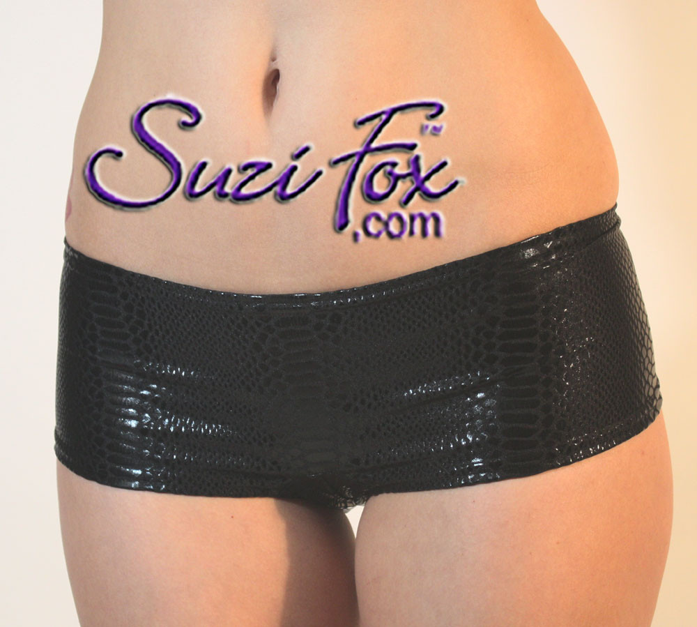 """Womens Cheeky Peeker Booty Shorts in Black Snake Print Metallic Foil coated Spandex by Suzi Fox. • The back seam """"lifts and separates"""" your booty for a cheeky profile.  • Choose any fabric on this site, including vinyl/PVC, metallic foil, metallic mystique, wetlook lycra Spandex, Milliskin Tricot Spandex. The vinyl/PVC is a latex alternative, great for people allergic to latex! • Custom sizing available • Plus size available • Worldwide shipping. • Made in the U.S.A.  We custom make every garment when you order it (including standard sizes)"""