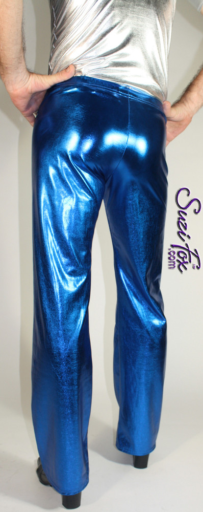 Mens Hiphugger Boot Cut Pants shown in Royal Blue Metallic Foil coated Spandex, custom made by Suzi Fox. Custom made to your measurements! • Available in gold, silver, copper, gunmetal, turquoise, Royal blue, red, green, purple, fuchsia, black faux leather/rubber Metallic Foil and any fabric on this site. • 1 inch no-roll elastic at the waist. • Optional 1 or 2-slider crotch zipper. • Choose your ankle size - tight ankles, jean cut, boot cut, or bellbottom. • Optional ankle zippers. • Optional belt loops. • Optional rear patch pockets. Made in the U.S.A.