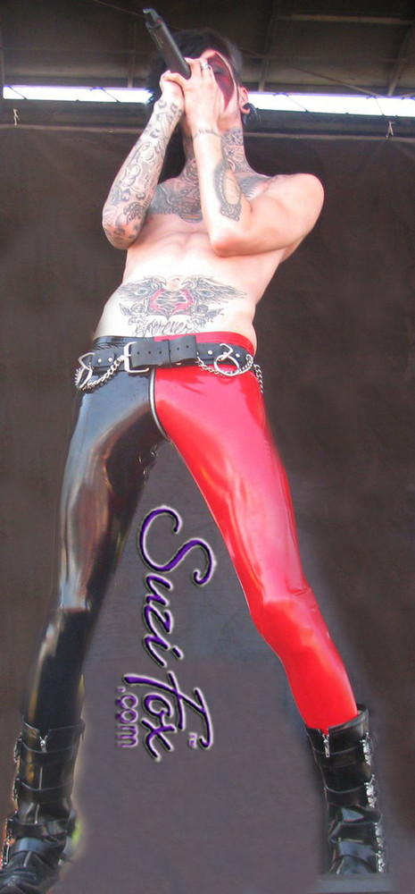 Mens two tone Low Rise Leggings shown in Gloss Black & Red Vinyl/PVC Spandex, custom made by Suzi Fox. Custom made to your measurements! • shown with optional 1 slider front zipper. • Available in black, white, red, navy blue, royal blue, turquoise, purple, Neon Pink, fuchsia, light pink, matte black (no shine), matte white (no shine), black 3D Prism, red 3D Prism, Turquoise 3D Prism, Baby Blue 3D Prism, Hot Pink 3D Prism Vinyl and any fabric on this site. • 1 inch no-roll elastic at the waist. • Optional 1 or 2-slider crotch zipper. • Choose your ankle size - tight ankles, jean cut, boot cut, or bellbottom. • Optional ankle zippers. • Optional belt loops. • Optional rear patch pockets. Made in the U.S.A. Photo of Jayy Von Monroe of the band Blood on the Dancefloor.