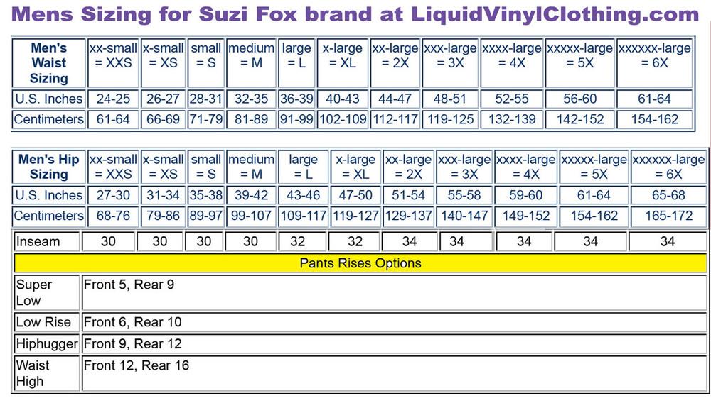 Mens standard sizing chart.