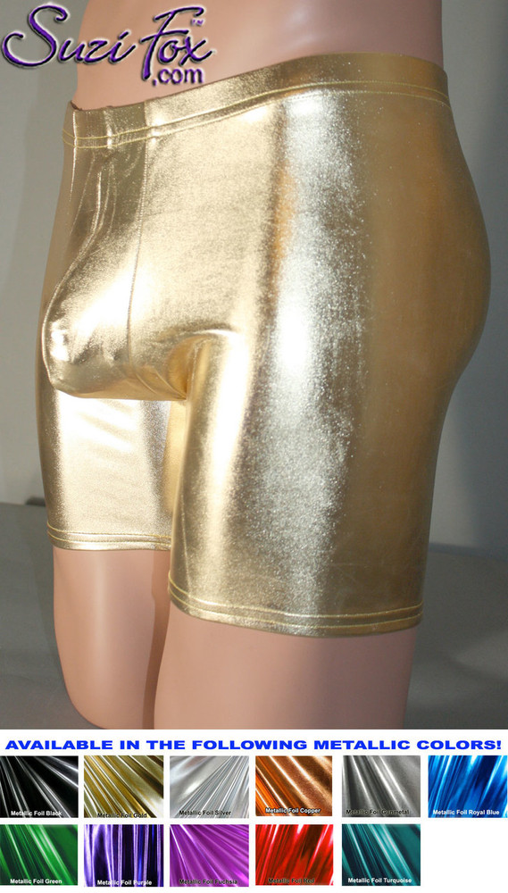 Pouch Front, Bike Length shorts shown in Gold Metallic Foil Spandex, custom made by Suzi Fox. Custom made to your measurements! Choose your pouch size. • Wear them as shorts, swimwear, or underwear. • Available in gold, silver, copper, gunmetal, turquoise, Royal blue, red, green, purple, fuchsia, black faux leather/rubber Metallic Foil and any fabric on this site. • 1 inch no-roll elastic at the waist. • Optional belt loops. • Optional rear patch pockets. • Your choice of inseam. 9 inch inseam shown (bike length). • Made in the U.S.A.