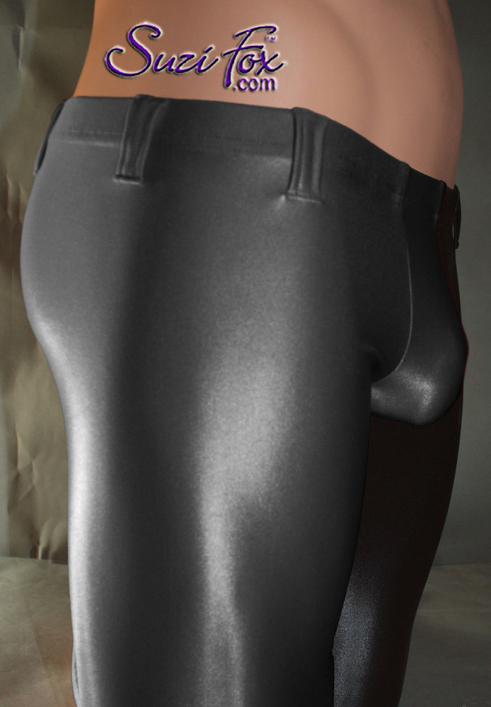 Pouch Front pants shown in Black Wetlook Lycra Spandex, custom made by Suzi Fox. Custom made to your measurements! Choose your pouch size. Low Rise shown. • Available in black, white, red, turquoise, navy blue, royal blue, hot pink, lime green, green, yellow, steel gray, neon orange Wet Look and any fabric on this site. • 1 inch no-roll elastic at the waist. • Optional belt loops. • Optional rear patch pockets. • Your choice of ankle style - tight ankles, jean cut, boot cut, or bellbottom. Made in the U.S.A.