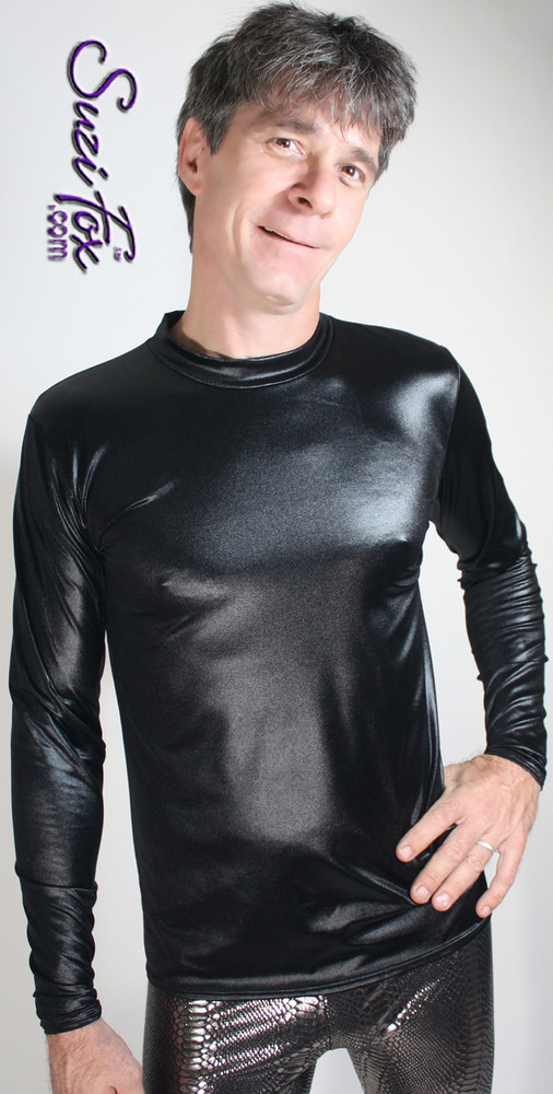 Mens Long Sleeve Shirt shown in Black Wetlook Lycra Spandex, custom made by Suzi Fox • Available in black, white, red, turquoise, navy blue, royal blue, hot pink, lime green, green, yellow, steel gray, neon orange Wet Look, and any fabric on this site. • Choose your sleeve length. • Give us your measurements for a custom fit! • Standard length is 24 inches (61 cm) for sizes XXXS-Medium; 27 inches (68.6 cm) for sizes Large and up. • Optional add extra length to the shirt. • Made in the U.S.A.