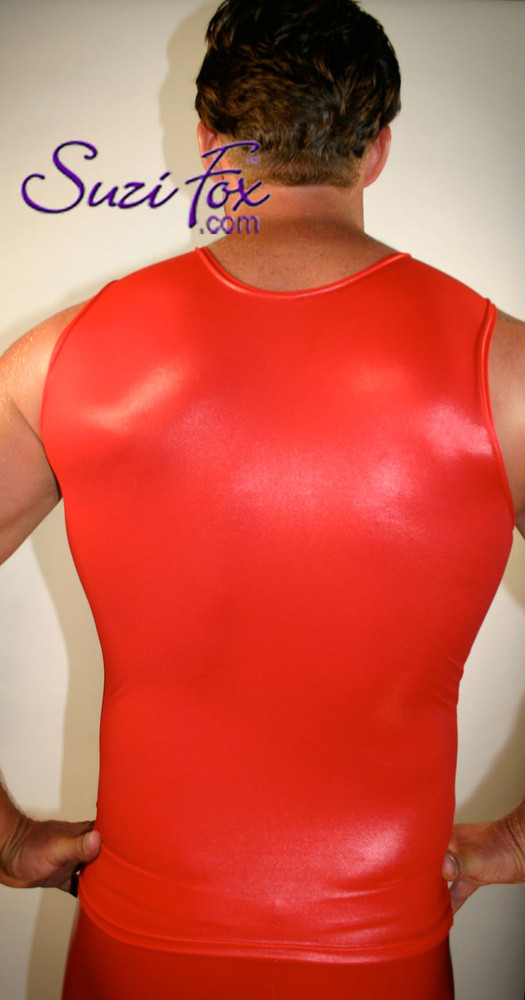 Mens Muscle Tee Shirt shown in Red Wetlook Lycra Spandex, custom made by Suzi Fox. • Available in black, white, red, turquoise, navy blue, royal blue, hot pink, lime green, green, yellow, steel gray, neon orange Wet Look, and any fabric on this site. • Give us your measurements for a custom fit! • Standard length is 24 inches (61 cm) for sizes XXXS-Medium; 27 inches (68.6 cm) for sizes Large and up. • Optional add extra length to the shirt. • Made in the U.S.A.