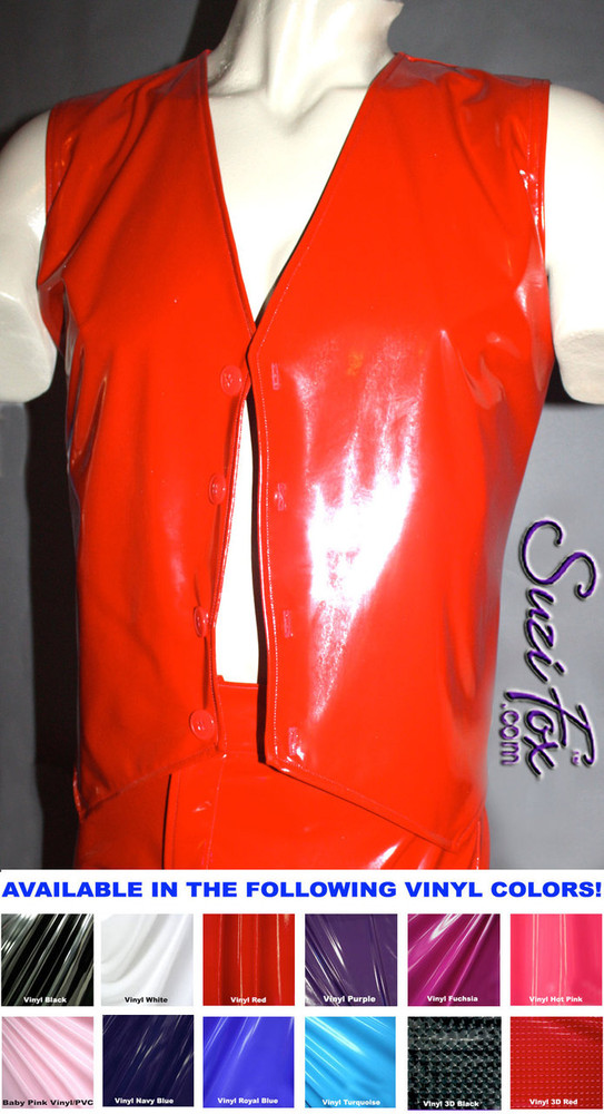 Mens V Front Vest in Gloss Red Vinyl/PVC Spandex, custom made by Suzi Fox. Custom made to your measurements! Available in black, white, red, navy blue, royal blue, turquoise, purple, Neon Pink, fuchsia, light pink, matte black (no shine), matte white (no shine), black 3D Prism, red 3D Prism, Turquoise 3D Prism, Baby Blue 3D Prism, Hot Pink 3D Prism, and any other fabric on this site. Button front. Made in the U.S.A.