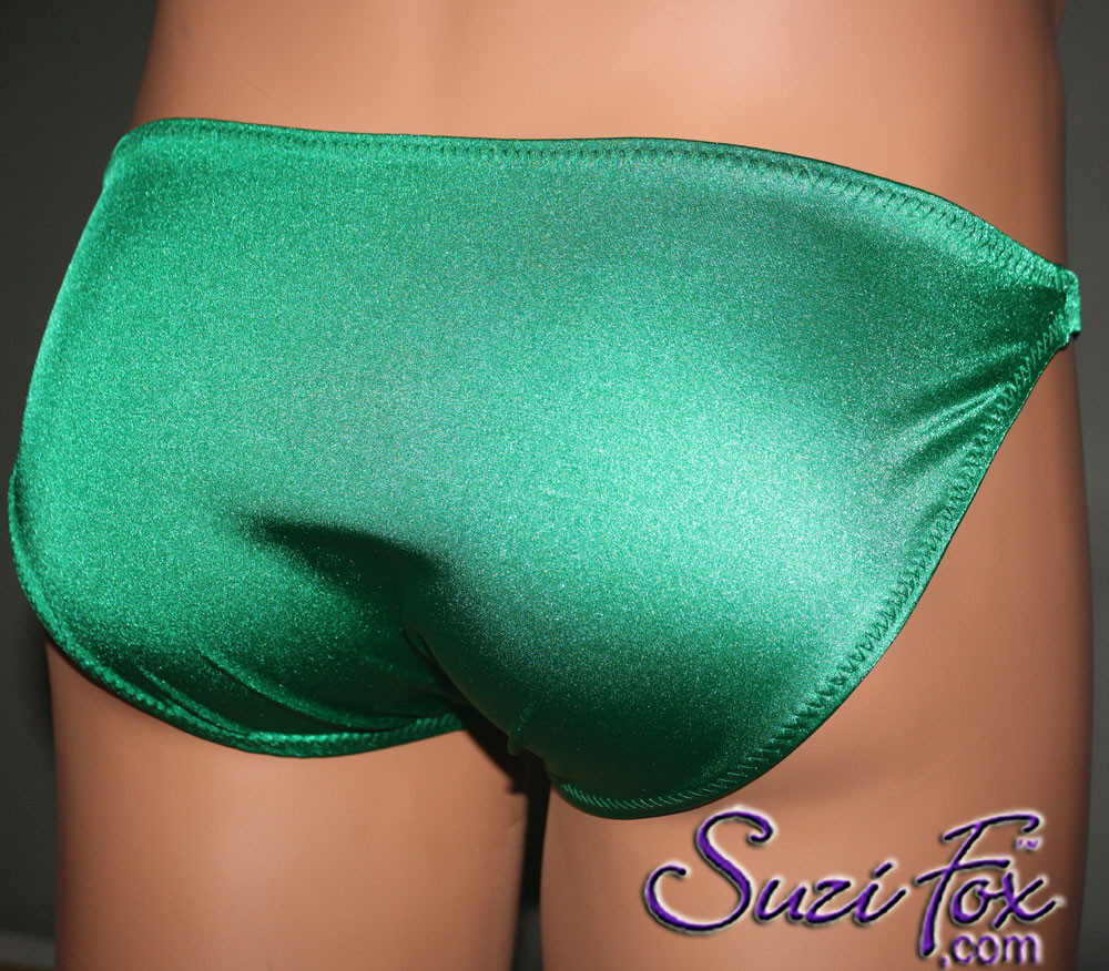Mens Pouch Front, Wide Strap, Full Rear Bikini - shown in Green Milliskin Tricot Spandex, custom made by Suzi Fox. • Available in black, white, red, royal blue, sky blue, turquoise, purple, green, neon green, hunter green, neon pink, neon orange, athletic gold, lemon yellow, steel gray Miilliskin Tricot spandex or any fabric on this site. • Standard front height is 6 inches (15.2 cm). • Available in 4, 5, 6, 7, 8, 9, and 10 inch front heights. • Wear it as swimwear OR underwear! • Made in the U.S.A.