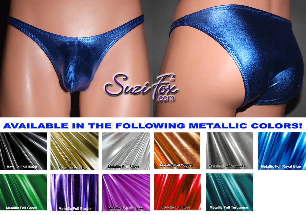 Men's Pouch Front, Wide Strap, Brazilian Bikini - shown in Royal Blue Metallic Foil Spandex, custom made by Suzi Fox. • Available in gold, silver, copper, gunmetal, turquoise, Royal blue, red, green, purple, fuchsia, black faux leather/rubber Metallic Foil or any fabric on this site. • Standard front height is 6 inches (15.24 cm). • Available in 3, 4, 5, 6, 7, 8, 9, and 10 inch front heights. • Wear it as swimwear OR underwear! • Made in the U.S.A.