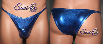 Mens Smooth Front, Skinny Strap, Rio Bikini - shown in Royal Blue Metallic Foil Spandex, custom made by Suzi Fox. • Available in gold, silver, copper, gunmetal, turquoise, Royal blue, red, green, purple, fuchsia, black faux leather/rubber Metallic Foil or any fabric on this site. • Standard front height is 7 inches (17.8 cm). • Available in 4, 5, 6, 7, 8, 9, and 10 inch front heights. • Wear it as swimwear OR underwear! • Made in the U.S.A.