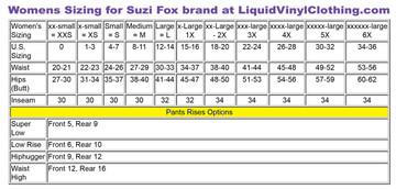 Standard size women's size chart.