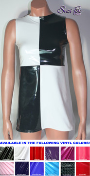 Styled after the dress Ariana Grande wore at the Billboard Music Awards in 2014.  Boat Neck, Geometric design, back zipper, Mini Dress in Shiny Stretch Gloss Black and White Vinyl coated Nylon Spandex by Suzi Fox.  • Choose any fabric on this site, including vinyl/PVC, metallic foil, metallic mystique, wetlook lycra Spandex, Milliskin Tricot Spandex. The vinyl/PVC is a latex alternative, great for people allergic to latex! • Custom sizing available. • Plus size available. • Worldwide shipping. • Made in the U.S.A.