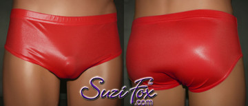 Men's Brief Bikini, custom made by Suzi Fox shown in Red Wetlook Spandex. 1 inch elastic at the waist, elastic in the legs. • Wear it as swimwear, underwear, or superhero briefs! • Optional belt loops. • You can choose any fabric on this site, including vinyl/PVC, Metallic Foil, Metallic Mystique, Wetlook Lycra Spandex, Milliskin Tricot Spandex. The vinyl/PVC is a latex alternative, great for people allergic to latex! • Worldwide shipping. • Made in the U.S.A. We custom make every garment when you order it (including standard sizes).