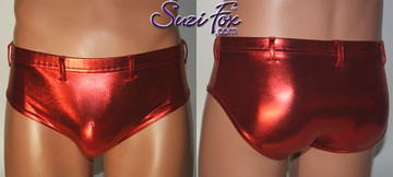 Men's Smooth Front, Brief Bikini, custom made by Suzi Fox shown in Red metallic foil coated spandex shown with optional belt loops. Available in gold, silver, copper, royal blue, purple, turquoise, red, green, fuchsia, gunmetal, black rubber/leather look. 1 inch elastic at the waist. Optional belt loops and rear patch pockets available. Made in the U.S.A.