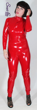 """Custom Catsuit by Suzi Fox shown in Red Gloss Vinyl coated Nylon Spandex.  You can order this Catsuit in almost any fabric on this site.  • Available in black, red, white, light pink, neon pink, fuchsia, purple, royal blue, navy blue, turquoise, black matte (no shine), white matte (no shine) stretch vinyl coated spandex. • Optional 1 or 2-slider crotch zipper, and """"Selene"""" from Underworld TS Brass zipper. • Optional wrist zippers • Optional ankle zippers • Optional finger loops • Made in the U.S.A."""