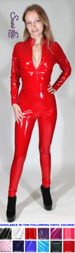 """Custom Catsuit by Suzi Fox shown in Red Gloss Vinyl coated Nylon Spandex.  You can order this Catsuit in almost any fabric on this site.  • Available in black, red, white, light pink, neon pink, fuchsia, purple, royal blue, navy blue, turquoise, black matte (no shine), white matte (no shine) stretch vinyl coated spandex. • Your choice of front or back zipper (front zipper shown). • Optional 1 or 2-slider crotch zipper, and """"Selene"""" from Underworld TS Brass zipper, or aluminum circular slider zipper like Catwoman comic characters. • Optional wrist zippers • Optional ankle zippers • Optional finger loops • Made in the U.S.A."""