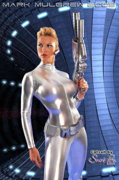 "Customer picture of Custom Catsuit by Suzi Fox shown in Silver metallic foil coated Nylon Spandex.  Art by Mark Mulgrew. You can order this Catsuit in almost any fabric on this site.  • Available in gold, silver, copper, royal blue, purple, turquoise, red, green, fuchsia, gun metal, black faux leather/rubber Metallic foil coated spandex. • Your choice of front or back zipper (front zipper shown). • Optional 1 or 2-slider crotch zipper, and ""Selene"" from Underworld TS Brass zipper, or aluminum circular slider zipper like Catwoman comic characters. • Optional wrist zippers • Optional ankle zippers • Optional finger loops • Optional rear patch pockets • Made in the U.S.A."