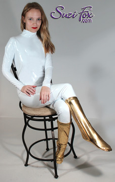 "Womens Custom Smooth Front (Back Zipper) Catsuit by Suzi Fox shown in Gloss White Vinyl/PVC coated Nylon Spandex. Click here to see this with a front zipper. • Choose any fabric on this site, including vinyl/PVC, metallic foil, metallic mystique, wetlook lycra Spandex, Milliskin Tricot Spandex. • Optional Custom Sizing. • Plus sizes available. • Optional ""Selene"" from Underworld TS zipper.  • Optional wrist zippers. • Optional ankle zippers. • Made in the U.S.A."