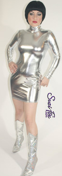 Turtleneck, Long Sleeved Mini Dress in Silver Metallic Foil coated Spandex, custom made by Suzi Fox. Zipper in the back. Choose any fabric on this site! Available in gold, silver, copper, gunmetal, turquoise, Royal blue, red, green, purple, fuchsia, black faux leather/rubber. • Optional 2-slider zipper going the length of the dress, front or back, unzip from the top of the bottom! • Optional bust cutout. • Optional wrist zippers. Made in the U.S.A.