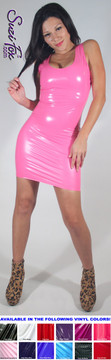 Tank Mini Dress in Shiny Gloss Neon Pink Vinyl/PVC Spandex by Suzi Fox. Choose any fabric on this site! Available in black, white, red, navy blue, royal blue, turquoise, purple, fuchsia, neon pink, light pink, matte black (no shine), matte white (no shine) stretch vinyl/PVC coated nylon spandex. Made in the U.S.A.