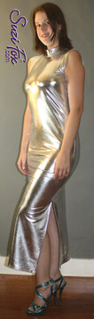 Turtleneck Maxi Dress in Silver Metallic Foil coated Spandex, custom made by Suzi Fox. Zipper in the back. Choose any fabric on this site! Available in gold, silver, copper, gunmetal, turquoise, Royal blue, red, green, purple, fuchsia, black faux leather/rubber. • Optional bust cutout. • Optional long sleeves. • Optional wrist zippers. Made in the U.S.A.