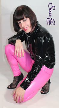 Suzi Fox vinyl coated spandex stretches! Very comfortable, yet body hugging!