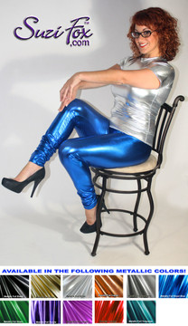 Womens Leggings shown in Royal Blue Metallic Foil Spandex, custom made by Suzi Fox. You can order this in almost any fabric on this site.  • Custom made to your measurements! • Available in gold, silver, copper, royal blue, purple, turquoise, red, green, fuchsia, gun metal, black faux leather/rubber coated spandex. This is a 4-way stretch fabric with a brilliant shine. • 1 inch elastic at the waist. • Optional 1 or 2-slider crotch zipper. • Optional ankle zippers • Optional rear patch pockets • Optional belt loops • Made in the U.S.A.