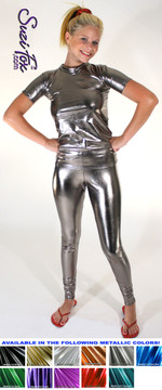 Womens Leggings shown in Gun Metal Metallic Foil Spandex, waist high rise shown, custom made by Suzi Fox. You can order this in almost any fabric on this site.  • Custom made to your measurements! • Available in gold, silver, copper, royal blue, purple, turquoise, red, green, fuchsia, gun metal, black faux leather/rubber coated spandex. This is a 4-way stretch fabric with a brilliant shine. • 1 inch elastic at the waist. • Optional 1 or 2-slider crotch zipper. • Optional ankle zippers • Optional rear patch pockets • Optional belt loops • Made in the U.S.A.